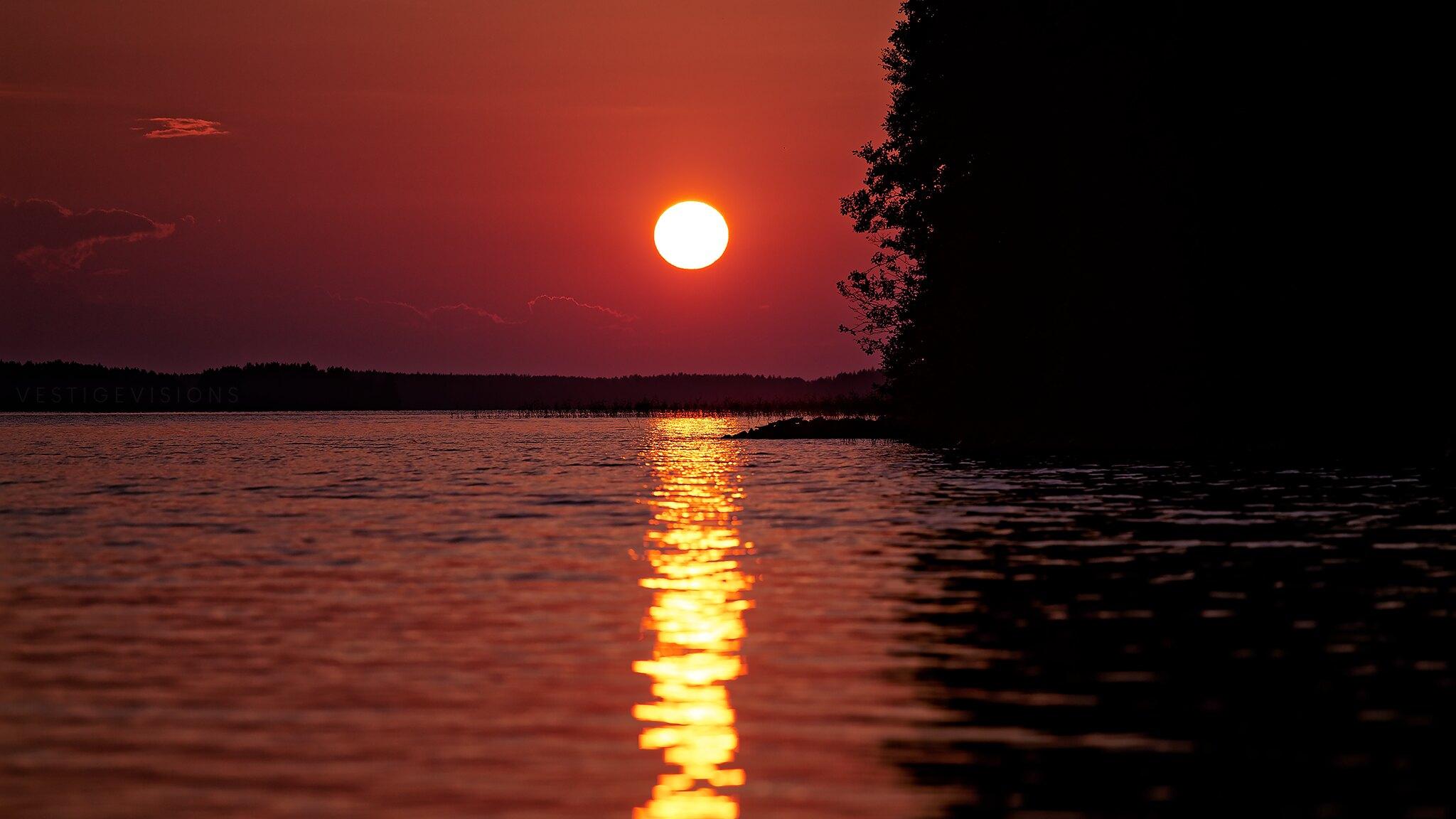 landscape sunset over lake