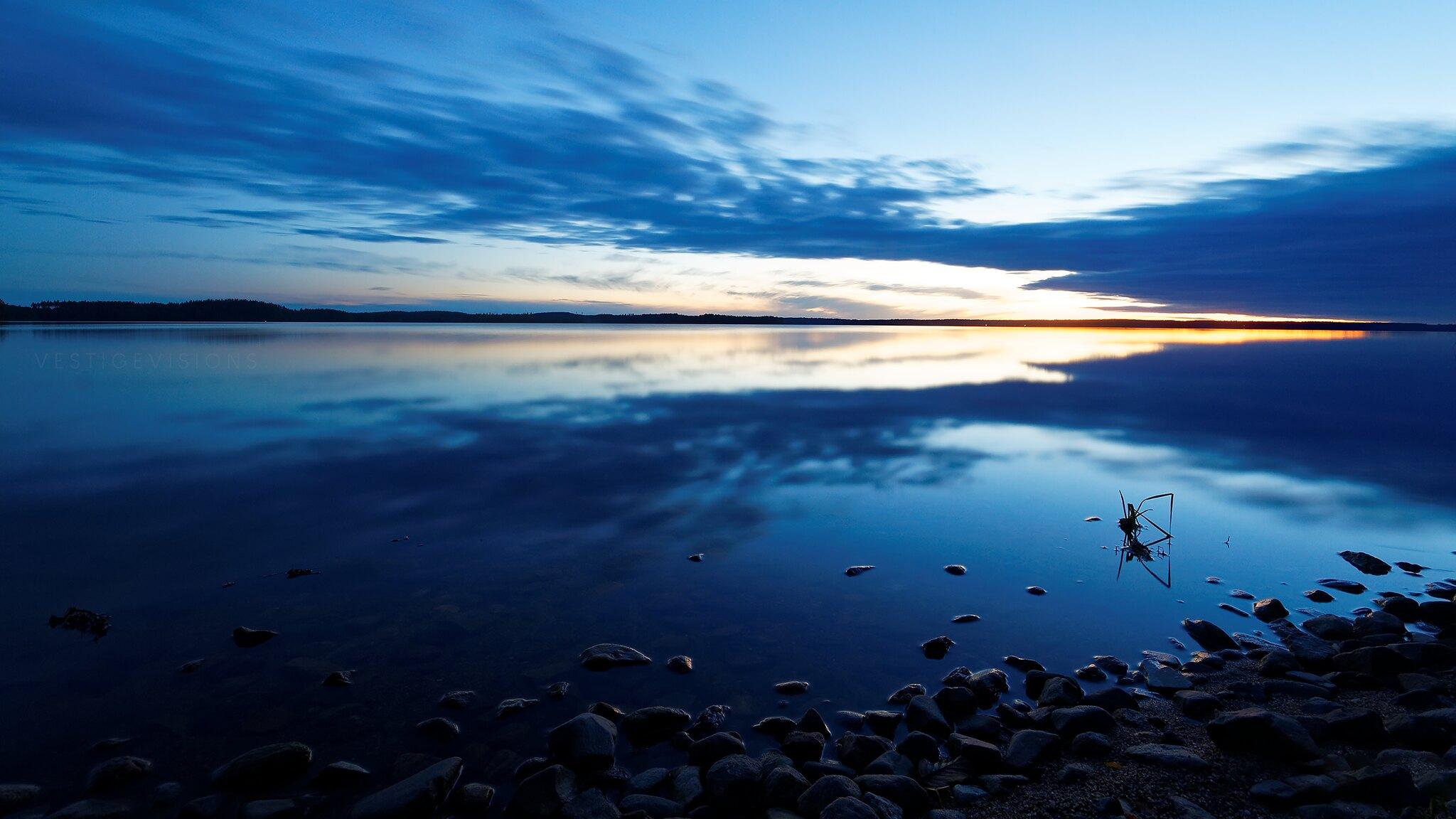 landscape sunset blue hour