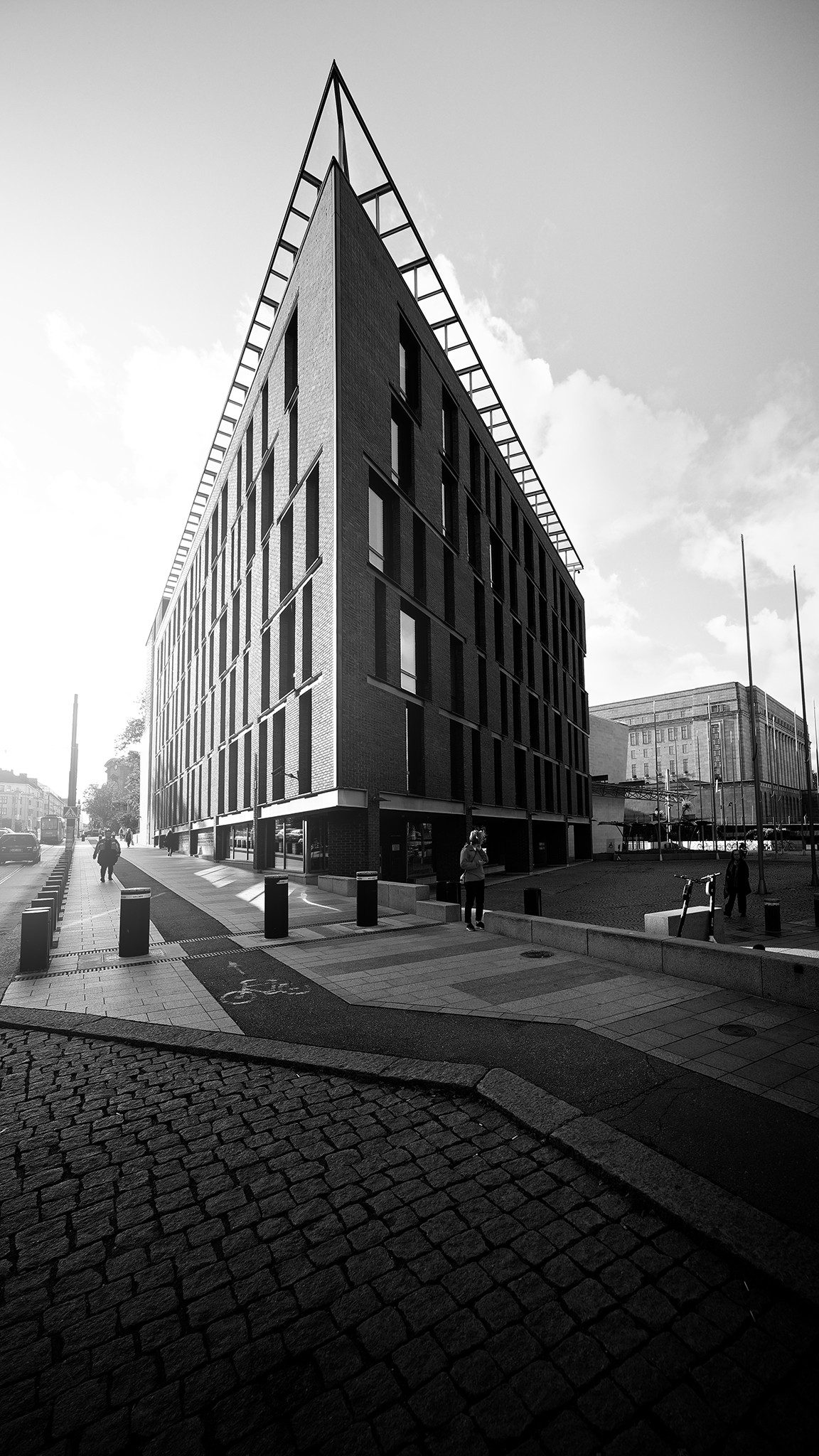 Little Parliament house in Helsinki downtown in black and white
