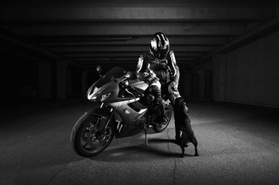 portrait biker and dog