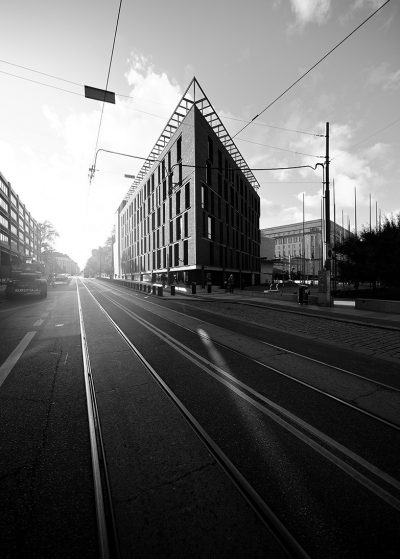 Little Parliament house Helsinki downtown in black and white