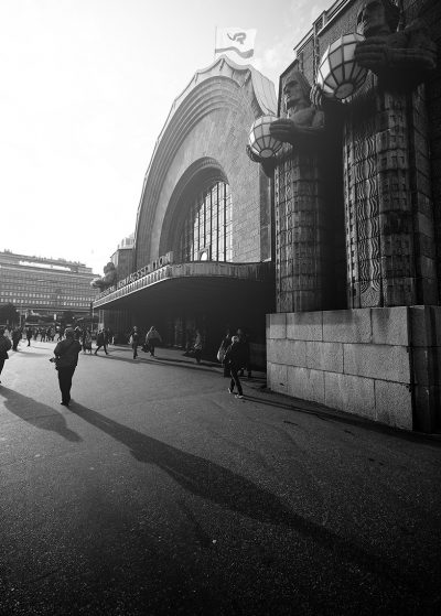 Central Railway Station Helsinki downtown in black and white