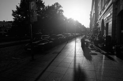Cafeterias in Esplanade street Helsinki in black and white