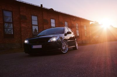 car sunset